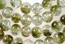 Margele sticla crackle, verde oliv-alb, 8mm - x110