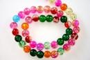 Margele sticla crackle, multicolor, 8mm