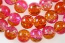 Margele sticla crackle, ciclam-portocaliu, 10mm - x40