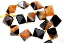 Natural agate, druzy quartz , black - orange, 3D square, 23mm