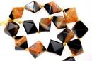 Natural agate, druzy quartz , black - orange, 3D square, 23mm