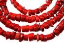 Coral, rosu intens, discuri in forma naturala, 10-12mm
