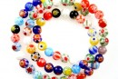 Margele chevron, rotund, multicolor, 6mm