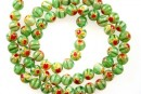 Margele chevron, rotund, verde, 6mm