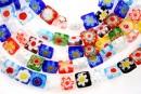 Margele chevron, patrat, multicolor, 8mm