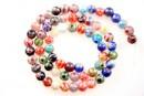 Margele chevron, rotund, multicolor sidefat, 6mm