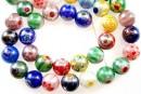 Margele chevron, rotund, multicolor cu irizatii AB, 10mm