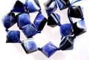 Natural agate, druzy quartz geode, royal blue, pyramid, 22mm