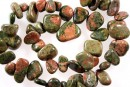Unakite, free form nugget, 14-20mm