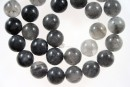 Grey cloudy quartz, round, 12mm
