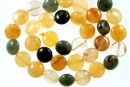 Multicolor aventurine, red, yellow, green, flat disc, 11mm