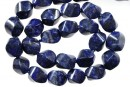 Natural lapis lazuli, twisted square, 14mm