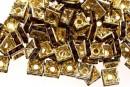 Spacer Rhinestone, auriu cu moaro intens, patrat, 6mm - x10