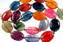 Natural agate, dragon vein multicolor, flat oval, 18x13mm