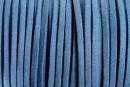 Snur faux suede, albastru, 3mm - x5m
