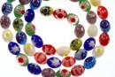 Margele chevron, oval, multicolor, 8x6mm