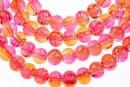 Margele sticla crackle, roz-portocaliu, 6.5mm - x140