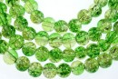 Margele sticla crackle, verde-galben, 6.5mm - x140