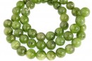 Natural nephrite jade, round, 8.5mm