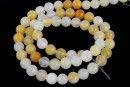 White yellow jade, round, 6.5mm