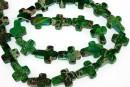 Sediment jasper, green, cross, 17x12.5mm