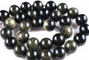 Golden sheen obsidian, round, 4mm