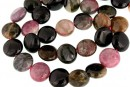 Multicolor natural tourmaline, flat disc, 12.5mm
