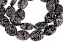 Snowflake obsidian, flat oval, 16x12mm