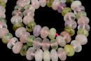 Mix white, pink quartz, prehnite, amethyst, microfaceted rondelle, 10x6.5mm