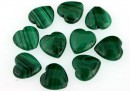 Malachite, natural stone, flat heart, 10x10mm - x10