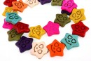 Multicolor magnesite,  smiley star, 20x19mm