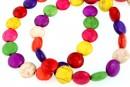 Multicolor magnesite, flat disc, 10mm