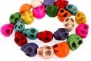 Multicolor magnesite, skull, 18x17mm