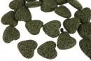 Lava, intense green, heart, 22x21mm