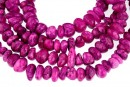Jade, free form rondelle, fuchsia purple, 10-14mm