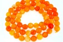 Agate, crab fire, faceted round, light orange, 6mm