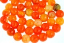 Agate, crab fire, faceted round, orange, 8mm