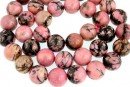 Rhodonite black veins, round, 14mm