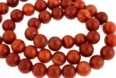 Red wood lace jasper, round, 8.5mm