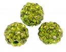 Margele shamballa, olivine, 8mm - x2