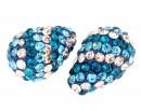 Margele shamballa, picatura, un orificiu, blue zircon, 17x11mm - x1