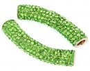 Margele shamballa, tub, fern green, 48x10mm - x1