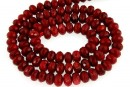 Coral, rosu intens, rondela fatetata , 6x4mm