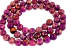 Sediment jasper, purple-fuchsia, round, 6mm