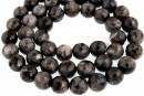 Larvikite, natural, faceted round, 8.5mm
