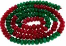 Agate, faceted rondelle, ruby-green, 4.5mm