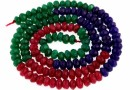 Agate, faceted rondelle, ruby-green-blue, 4.5mm