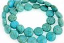 Turquoise magnesite, flat disc, 12mm