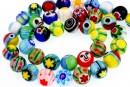Margele Millefiori, rotund, multicolor, 10mm