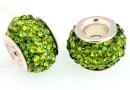 Margele european style, shamballa, olivine, 12mm - x1